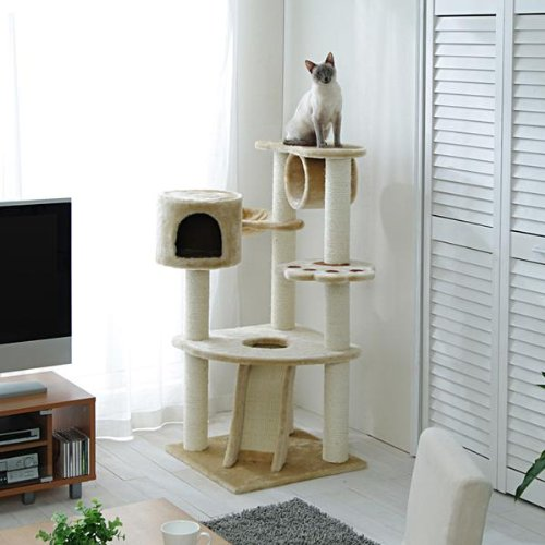 Cat Tower with Scratching Posts and Cubby Hole, QQ80083, Cat Tree, Cat Condo, My Pet Supplies