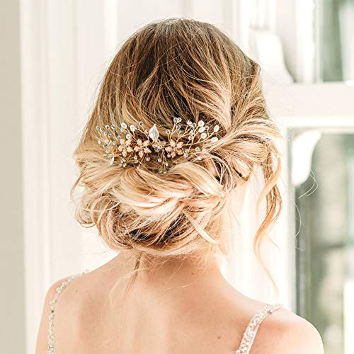 SWEETV Rose Gold Bridal Hair Comb Clip - Rhinestone Headpieces Wedding Hair Accessories For Women, Girl, Bride (Jewelry Rose Hair Gold)