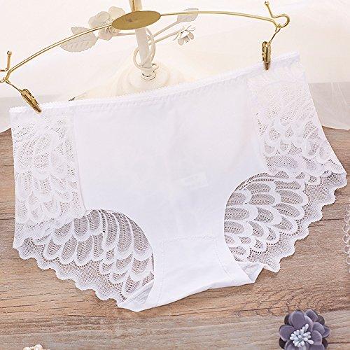 Las señoras respirable transparente bragas de encaje,Púrpura pálido Blanco