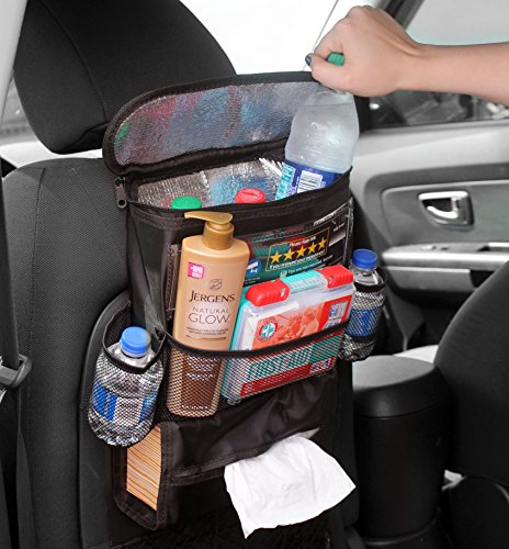 Back Seat Organizer for Uber / Lyft Taxi Drivers; Multi-Pocket Automobile Organizer for Uber & Lyft Drivers or Personal Cars