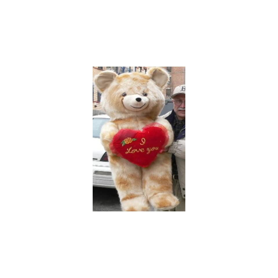 LIFESIZE 42 VALENTINE LOVE TEDDY BEAR * SOFT FUR LOOKS LIKE MINK * HOLDS BIG PLUSH RED HEART EMBROIDERED WITH THE WORDS I LOVE YOU   COLOR MINK   AMERICAN MADE IN THE USA AMERICA   GREAT FOR VALENTINES DAY or ANY DAY