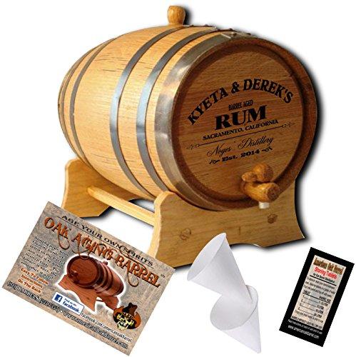 Personalized American Oak Aging Barrel - Design 060: Barrel Aged Rum (2 - Rum Barrel
