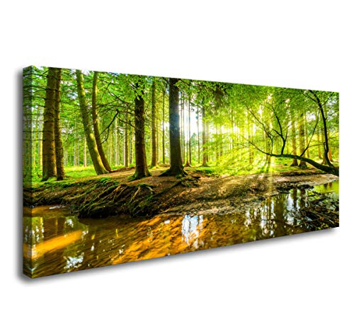 Wall Art for Living Room Forest Photos Canvas Prints Nature Morning Pictures for Living Room Wall Decor Large Framed Wall Art Sunshine Photo Prints Artwork for Walls Pictures Green Canvas Wall Art