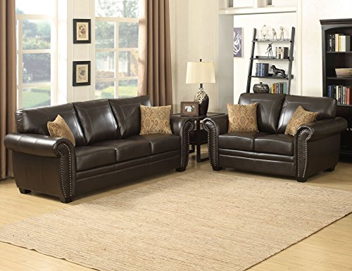 AC Pacific Louis Collection Traditional 2-Piece Upholstered Leather Living Room Set with Sofa, Loveseat and 4 Accent Pillows, Brown