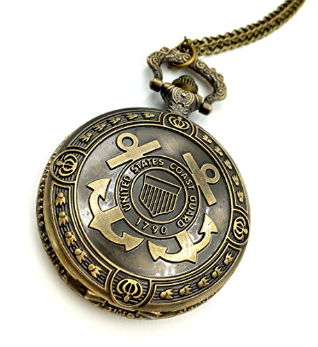 (Joyplancraft Vintage Brass Anchor Pocket Watch United States Coast Guard Ensign Locket Watch Necklace (Style 1))