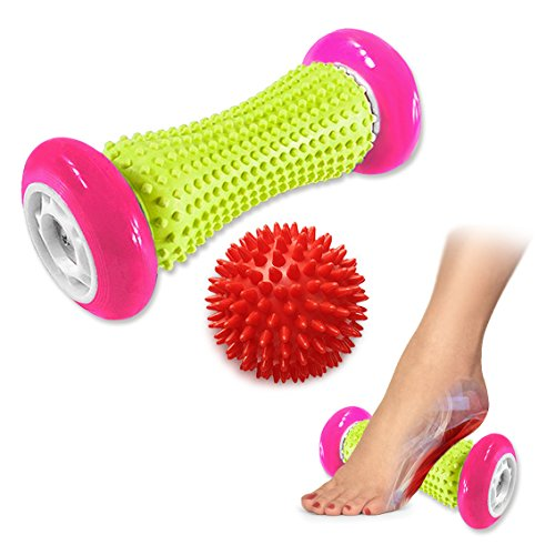 Pasnity Foot Massage Roller Spiky Ball Foot Pain Relief Massager Relieve Plantar Fasciitis and Heel Foot Arch Pain and Relax Shoulder Foot Back Leg Hand, 1 Roller & 1 Spiky Balls Included (Rose)