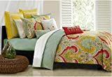 2pc Southwest Paisley Pattern Duvet Cover Twin Set, Indian Rajasthan Themed Bedding Indian Tribe Motifs Native Tribal Designs, Vibrant Medallion, Yellow Red Lime Green