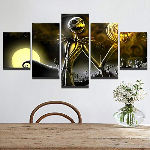 qingyuge 5 Panels Canvas Wall Art Canvas Wall Art Pictures Home Decor Living Room Halloween Poster 5 Pieces Hd Printed Nightmare Before Christmas Painting Framed -