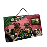 Home of Bullmastiff 4 Dogs Playing Poker Photo Slate Hanging