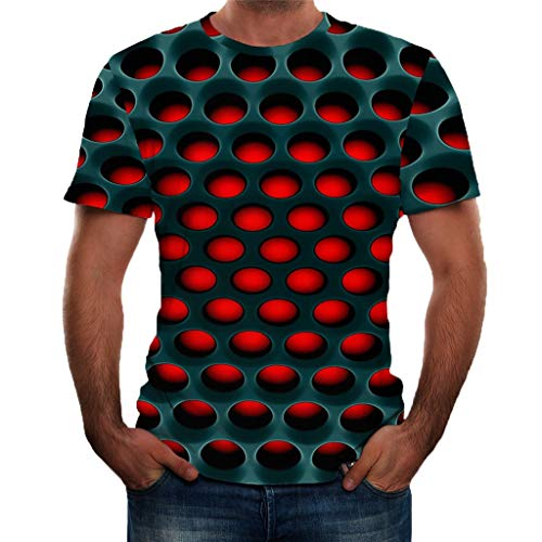 Zackate Mens 3D Ugly Printed T-Shirt Short Sleeve Crew Neck Dot Tees Tops Sweatshirts Streetswear Red]()