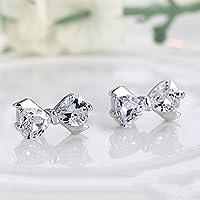 Ransopakul Newly 1Pair Elegant Bow 925 Sterling Silver Rhinestone Ear Stud Earrings Jewelry