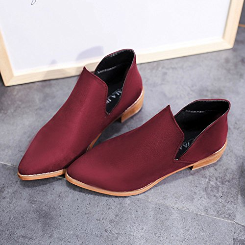 Warm Women Overmal 2018 Ladies Martin Shoes Buckle Red Solid Boots Ankle Faux Boots q5Y65