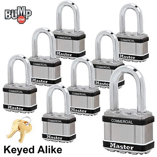 Master Lock Magnum Padlocks - 2'' W x 1-1/2''L Shackle, Eight (8) Keyed Alike Locks #M5NKALFSTS-8 w/BumpStop Technology by Master Lock (Image #1)