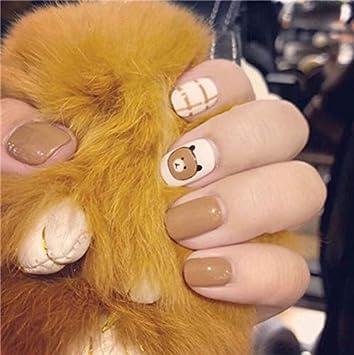 Amazon Com 24 Pcs Oval Fake Nails Short Elk Nail Design Tips With