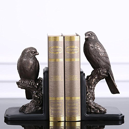LPY-Set of 2 Bookends Resin Birds Style Crafts, Book Ends for Office or Study Room Home Shelf Decorative (Linen Bookends)