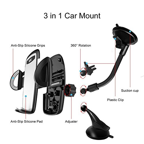 Car Phone Holder 3-in- 1 Car Mount for Windshield, Dashboard, Air Vent – 360° Rotatable Universal Cell Phone Mount for iPhone, Samsung, More – Hands Free Dash Mount Mobile Phone Holder for Car by I&F by I & F (Image #4)