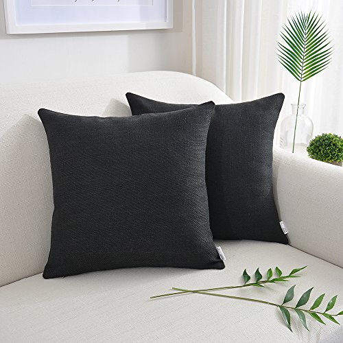 NATUS WEAVER Throw Pillow Case Faux Linen Toss Soft Pillowcase Cushion Covers for Couch Bench Blanket, with Invisible Zipper, 18x18 inches, Black, 2 Pieces (Black Linen Pillow Cover)