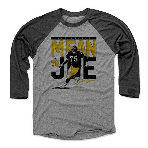 500 LEVEL Mean Joe Greene Baseball Shirt XXX-Large Black/Heather Gray - Vintage Pittsburgh Football Men's Apparel - Joe Greene Pass Rush Pittsburgh