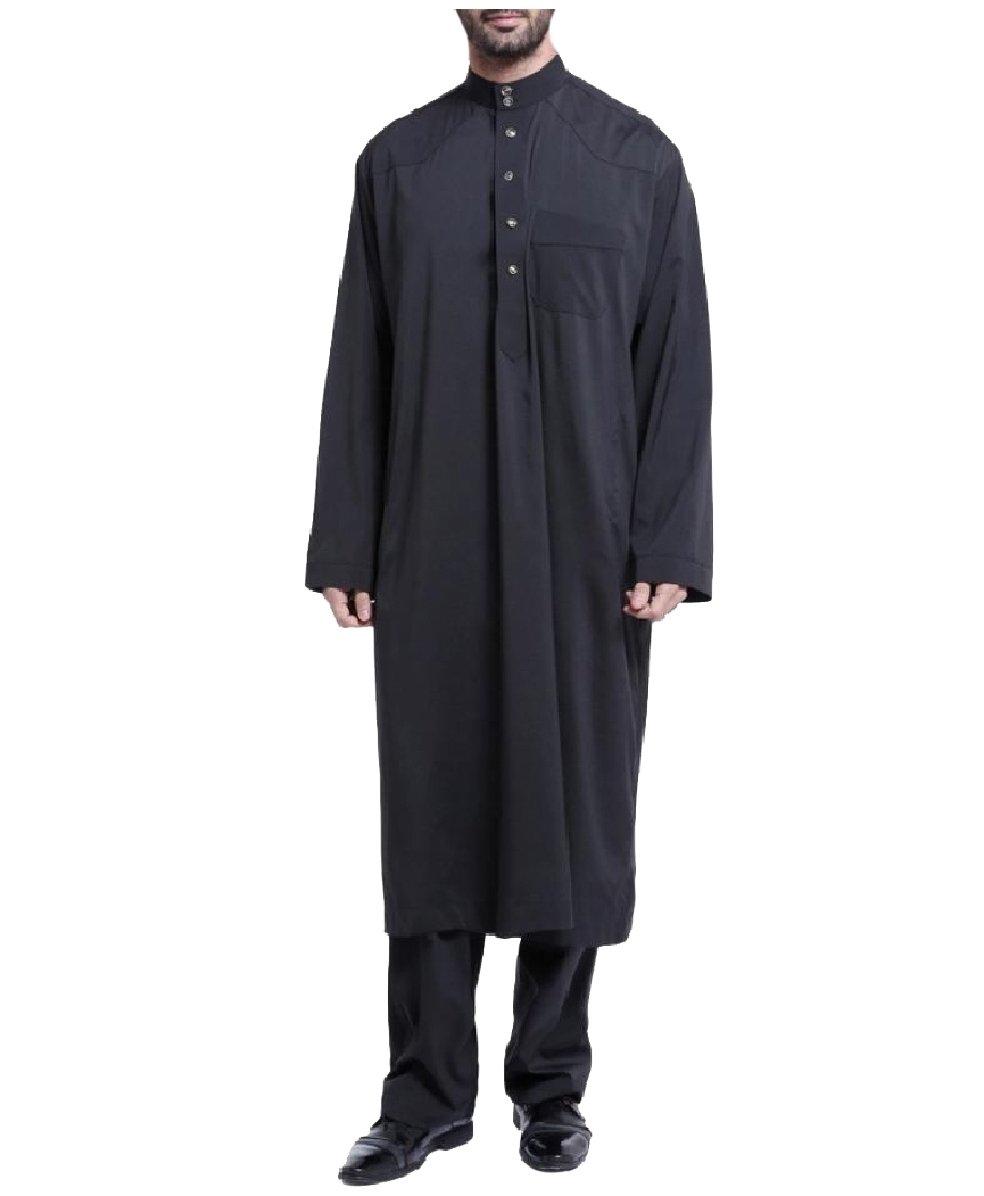 CuteRose Men Long Sleeve Saudi Arabia Islamic 2-Piece Muslim Salwar Sets Black XL