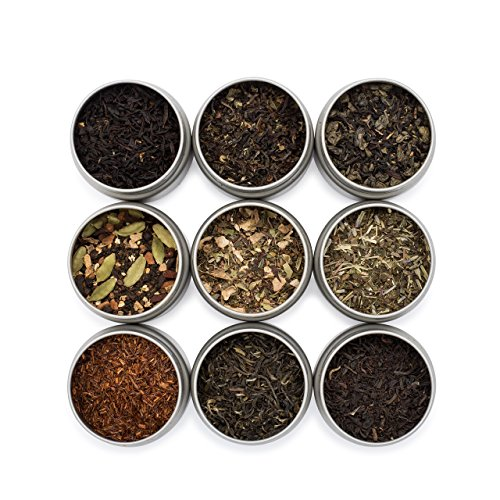 Golden Moon Tea LOOSE LEAF TEA SAMPLER - 9 Variety Pack - Organic Tea Sampler Gift Set - Black Tea, Green Tea, White Tea, Herbal (Loose Tea Box)