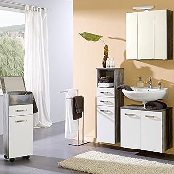 Badezimmer Set wei, Eiche Vintage Badezimmerschrank Bad ...