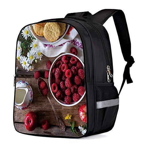 - Water Resistant School Backpack, Raspberry Flower Teacup Apple Food Oxford 3D Print College Student Rucksack Daypack for School Camping Travel 33x28x16cm