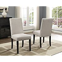 Roundhill Furniture Biony Tan Fabric Dining Chairs with Nailhead Trim, Set of 2