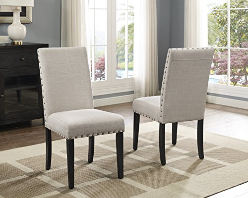 Roundhill Furniture Biony Tan Fabric Dining Chairs with Nailhead Trim, Set of 2 by Roundhill Furniture