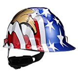 MSA 10052947 V-Gard Hard Hat Front Brim with Ratchet Suspension, Standard, American Flag w/ 2 Eagles (36 Pack)