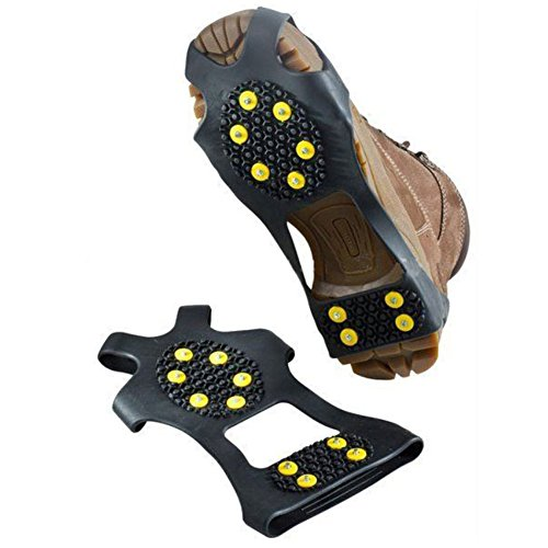KingBig Ice Climbing Crampons, Winter Sports Equipment Anti Slip Ice Traction Cleat Shoe Cover for Winter Outdoor Sport Mountaineering Hiking Walking in Ice 1 Pair (10 Teeth, L)