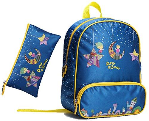 AMY & BEAR Kinder-Rucksack mit passender Federtasche