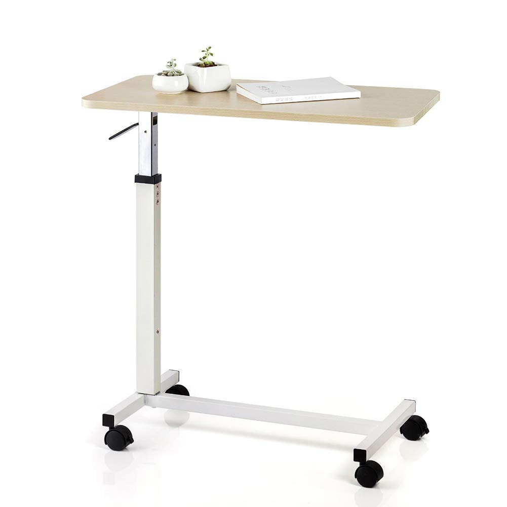 XUEXUE Table Medical Adjustable Notebook Desk with Wheels Sofa Side Table for Studying Reading Breakfast Table Stopper Ledge Mobile Laptop Desk Cart Home Office Student Dorm