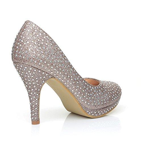 Gericht Braut Plattform Prom Diamante Bailey Schuhe Gold Mesh Rose Hochzeit WwSCnq8aP