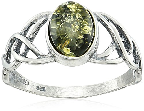 Green Amber Sterling Silver Celtic Love Knots Ring, Size - Amber Celtic Knot