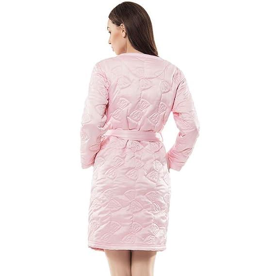 Albornoz Camisón De Mujer De Punto Algodón Super suave y gruesa albornoz camisón de cinturón y dos bolsillos frontales para gimnasio ducha Spa Hotel Robe: ...