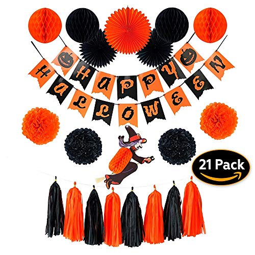 Happy Halloween Party Decorations Indoor & Outdoors|21 Pieces Includes: Witch, Banner, Paper Fan, Tissue Pom Pom, Hanging Honeycomb Ball & Tassel Garland | Orange and Black Set, Birthday -