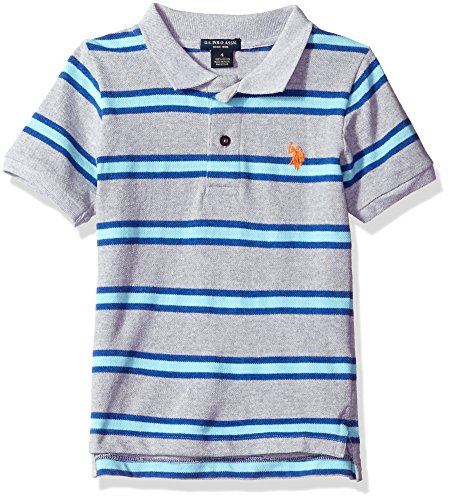 U.S. Polo Assn. Little Boys' Toddler Short Sleeve Yarn Dye Pique, Light Heather Gray, 3T Yarn Dye Pique Polo