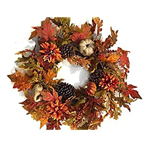 Autumn Treasures 21-22 Inch Decorative Fall Door Wreath with Pumpkins Gourds Orange Flowers Pine Cones Oak and Maple Leaves Seasonal Autumn Home Decor 28