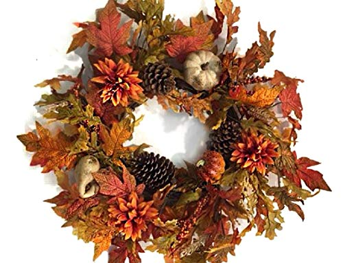 22 Inch Decorative Fall Door Wreath with Pumpkins Gourds Orange Flowers Pine Cones Oak and Maple Leaves Seasonal Autumn Home Decor ()