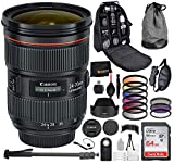 Canon EF 24-70mm f/2.8L II USM Lens with Professional Bundle Package Deal Kit Includes San Disk 64gb SD Card + 82MM - 3pc Filter Kit (UV, CPL, FLD) + 72'' Monopod + DSLR Camera Backpack + More