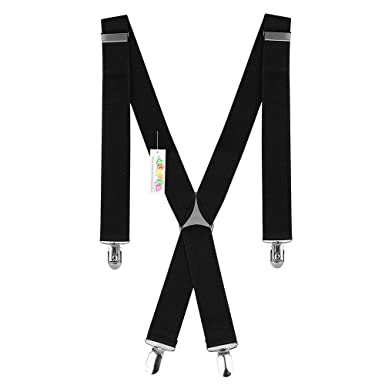 519debf12 Durable 35MM Wide Black Elastic and Adjustable Mens Trouser Braces  Suspenders X shape with Strong Metal Clips - Heavy Duty (35MM)   Amazon.co.uk  Clothing