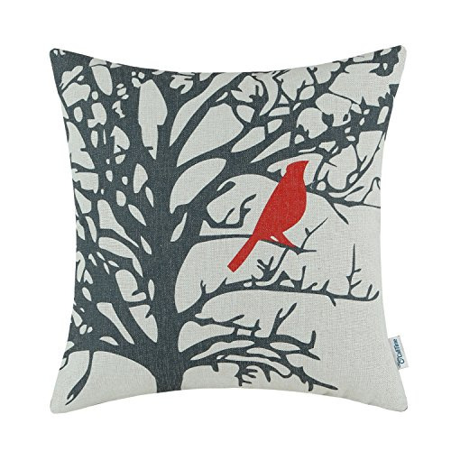 calitime cushion cover throw pillow case shell vintage birds branches 18 x 18 inches red black