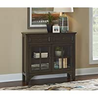 Powell Campbell Grey Glass-front Contemporary Entryway Console