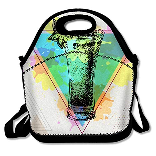 Insulated Lunch Bag for Women, Men and Students- Reusable Soft Lunch Tote for Work-Hipster Cocktail Absinthe