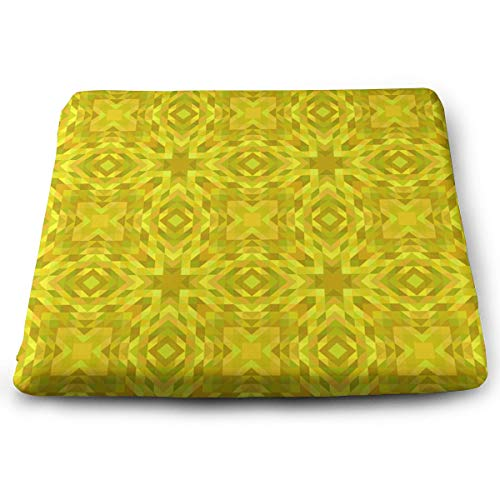Pamdart Yellow Wallpaper Pattern Triangle Abstract Design Personalized Square Seat Cushion Memory Cotton Zipper Detachable for Dining Table Patio Chair