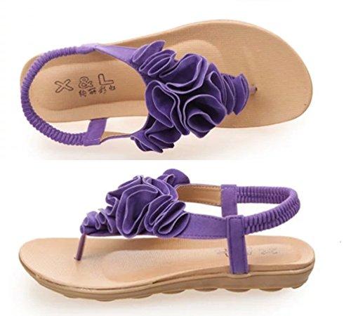 YOUJIA Damen Bohemia Süß Blume Zehentrenner Thongs Sommer T-Spangen Sandalen Strand Schuhe Violett