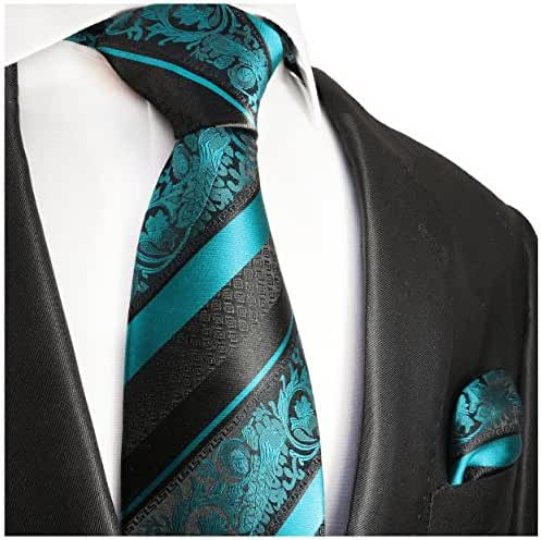 Turquoise and Black Paul Malone Silk Tie and Pocket Square