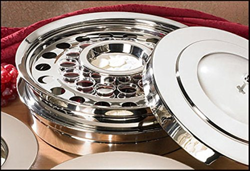 Stackable Communion Tray with Center Bread Plate & Tray Cover - Stainless Steel Silver (Communion Bread Plate)