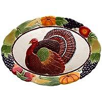 Cosmos 10713 Gifts Turkey Design Ceramic Platter, 18-Inch