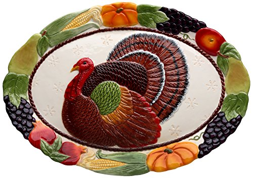 Cosmos 10713 Gifts Turkey Design Ceramic Platter, 18-Inch (Turkey Platter)